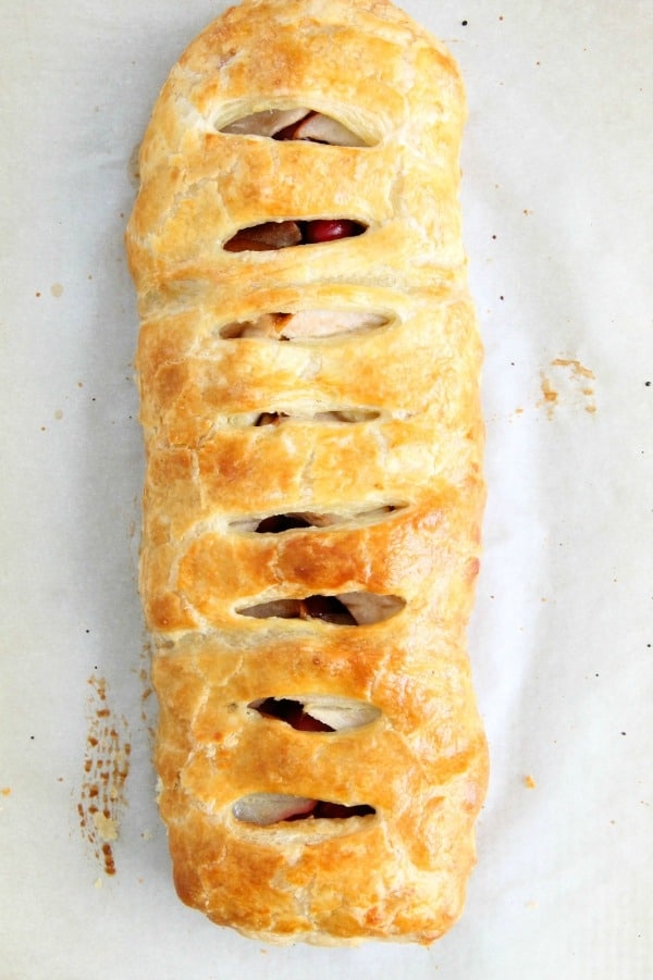 Cranberry Pear Strudel on white background