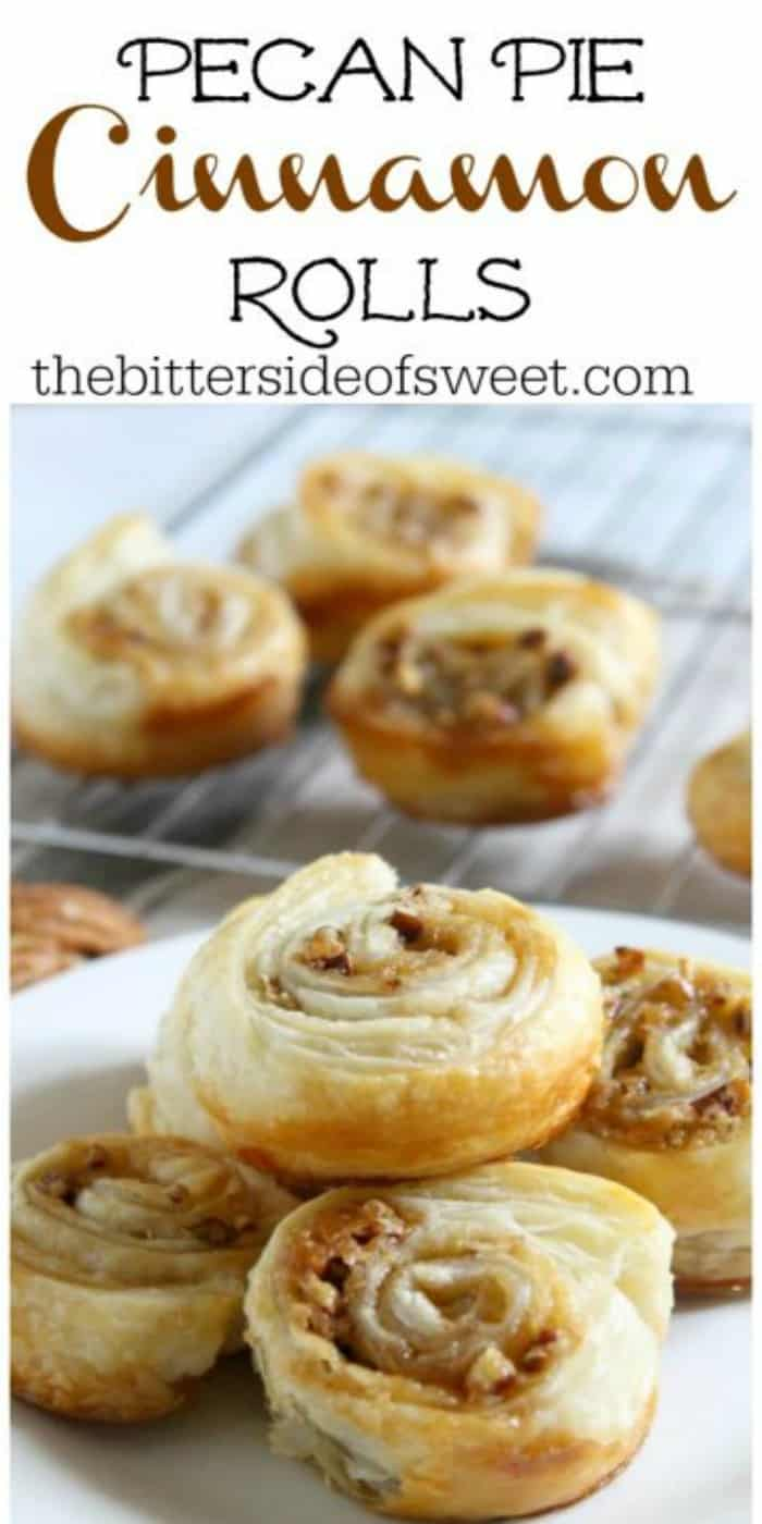 Pecan Pie Cinnamon Rolls couldn't be easier to whip up using puff pastry. Great for breakfast, brunch, or maybe even dessert. | The Bitter Side of Sweet #puffpastry #cinnamonrolls #pecans #breakfast