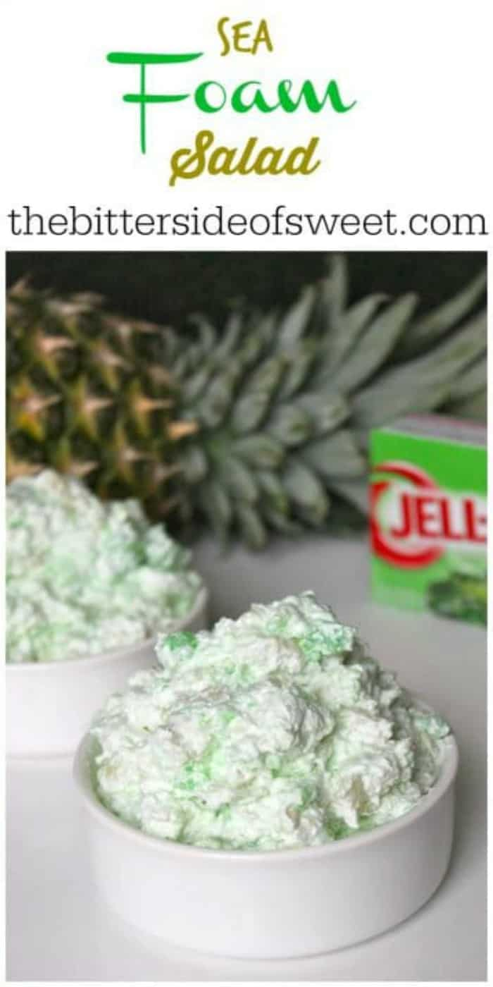 Sea Foam Salad is the perfect no bake dessert anytime of the year! We love for around the holidays! Just a few simple ingredients and it is ready to go! | The Bitter Side of Sweet #nobake #jello #cookwhip #Thanksgiving