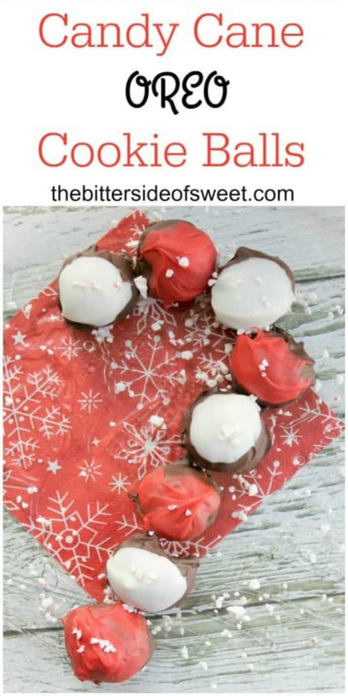 Rich and creamy chocolate covered Candy Cane OREO Cookie Balls! | The Bitter Side of Sweet #candy #chocolate #oreo