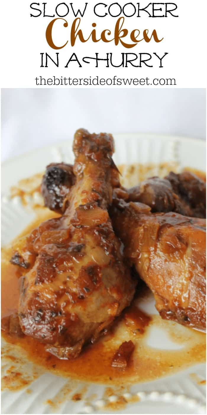 Chicken in a Hurry is a slow cooker chicken that has a great tangy base cooked till the meat falls off the bones! Prep time is minimal and the slow cooker does the rest! | The Bitter Side of Sweet #chicken #dinner #slowcooker