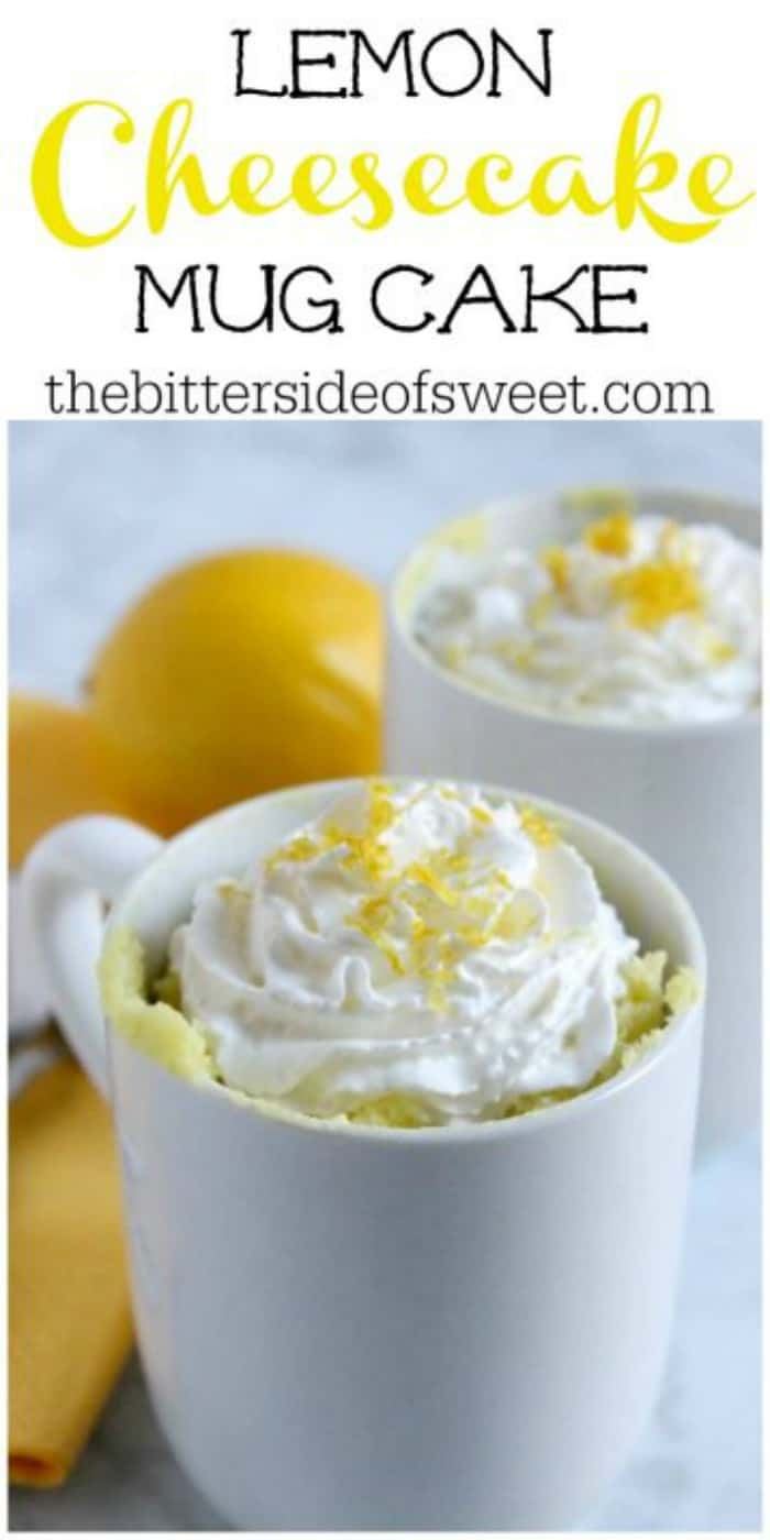 Easy to make Lemon Cheesecake Mug Cake! Two and a half minutes in the microwave and you have sheer bliss! You will want to keep making it over and over! | The Bitter Side of Sweet #mugcake #cake #lemon