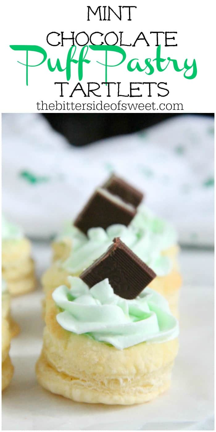 Mint Chocolate Puff Pastry Tartlets are the perfect individual dessert for entertaining! The flavors of mint and chocolate pair well with a whipped cream frosting, to make this out of this world! | The Bitter Side of Sweet #puffpastry #mint #chocolate