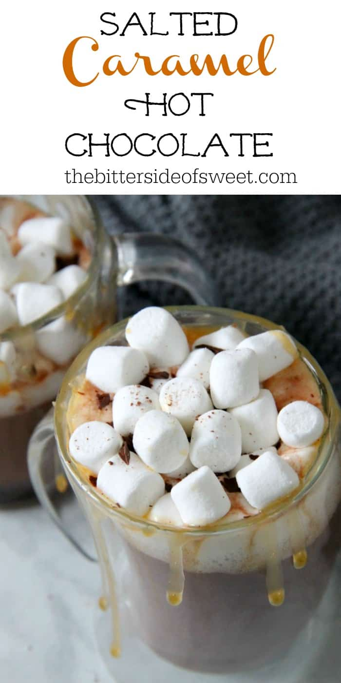 Salted Caramel Hot Chocolate Recipe is perfect for this time of year! Perfect combination of caramel, sea salt and chocolate! #christmassweetssweet #ad | The Bitter Side of Sweet