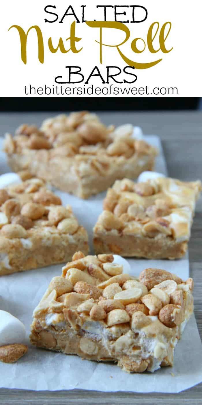 Salted Nut Roll Bars are a candy classic made into a delicious ooey gooey bar! Filled with peanut butter and marshmallows, the whole family would enjoy it!   The Bitter Side of Sweet #bars #dessert #holiday