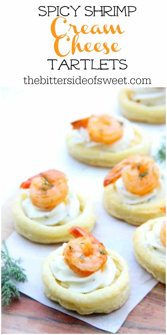 Spicy Shrimp Cream Cheese Tartlets are so great for entertaining! With cool cream cheese and a bit of heat, these little bites will go quickly! | The Bitter Side of Sweet #shrimp #appetizer #seafood #puffpastry