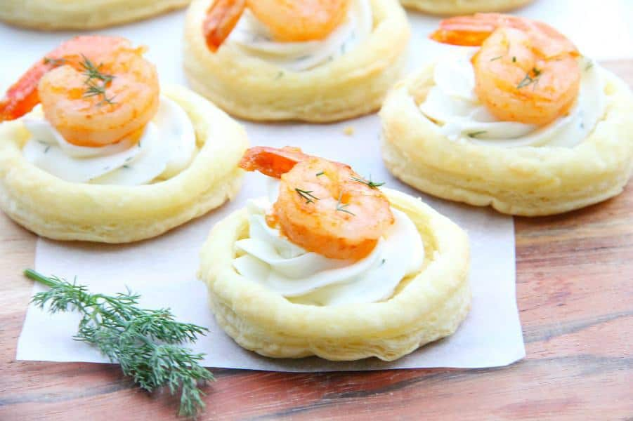 Spicy Shrimp Cream Cheese Tartlets on wood background