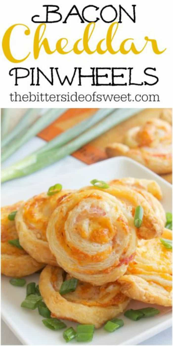 Bacon Cheddar Pinwheels are so versatile! You can make them lunch, dinner, or an easy app for your next dinner party or game day celebration! | The Bitter Side of Sweet #gameday #appetizer #puffpastry #bacon