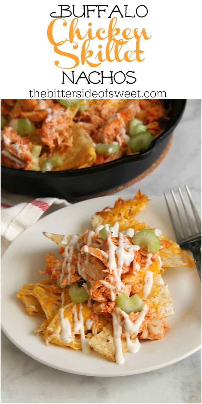 Easy to make Buffalo Chicken Skillet Nachos. Made with rotisserie chicken and buffalo sauce, this will become your new game day appetizer! | The Bitter Side of Sweet #gameday #nachos #chicken #snack