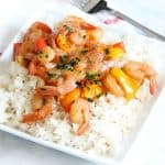 Instant Pot Sweet and Sour Shrimp on white plate