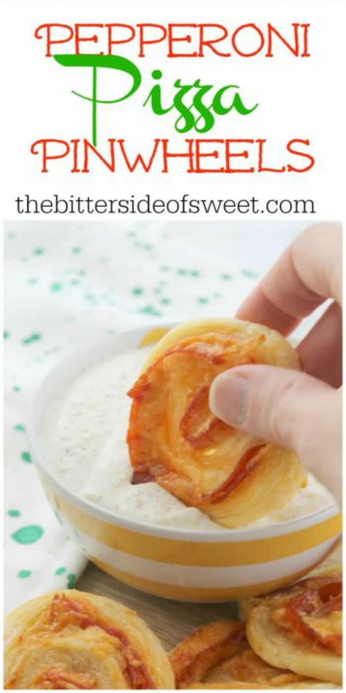 Pepperoni Pizza Pinwheels are fun to say AND eat. This recipe is super versatile – eat them for lunch, a quick dinner, or serve them up at your next basketball-watching party. | The Bitter Side of Sweet #gameday #pepperoni #appetizer