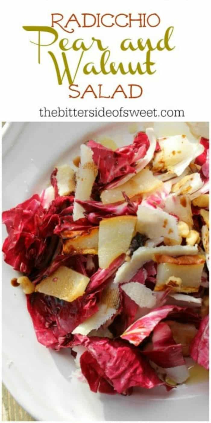 Toss together this Radicchio Pear Walnut Saladtopped with a little balsamic vinegar to get an easy 20 minutes dish! | The Bitter Side of Sweet #salad #easy #pear #walnuts