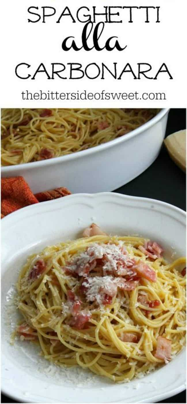 Bacon is the star of this Spaghetti alla Carbonara Recipe! A traditional Italian dish that is made simple and ready in 30 minutes! | The Bitter Side of Sweet #pasta #bacon #dinner #30minutes