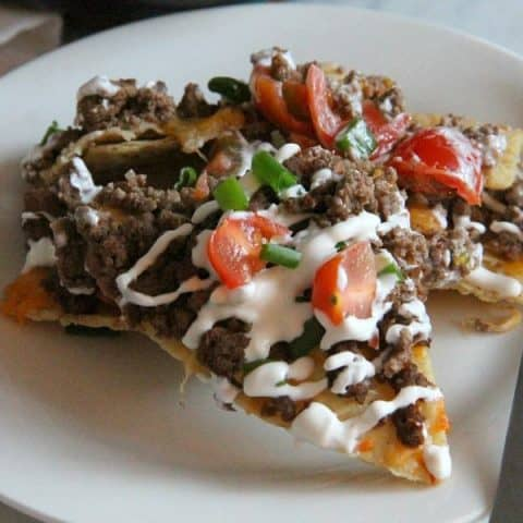 Taco Skillet Nachos on white plate