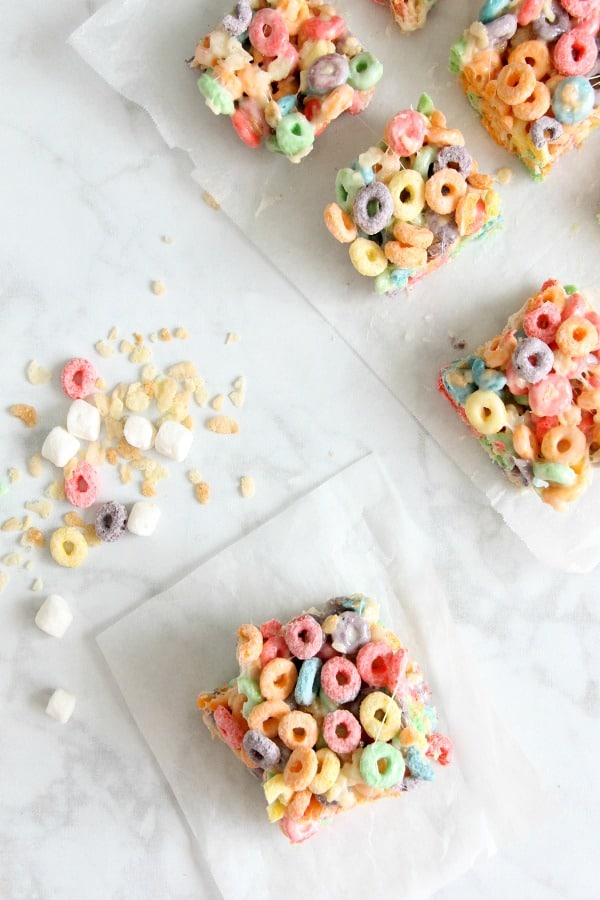 Fruity Marshmallow Treats on parchment paper