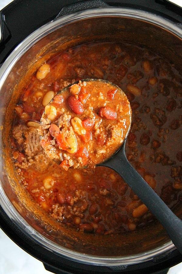 Instant Pot Three Bean Chili in pot