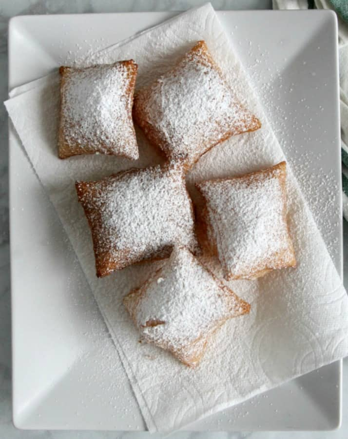 Puff Pastry Beignets on white plate