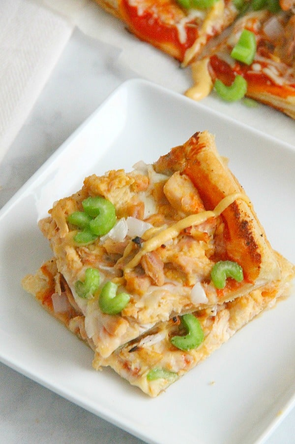 Puff Pastry Honey Mustard Chicken Pizza on white plate