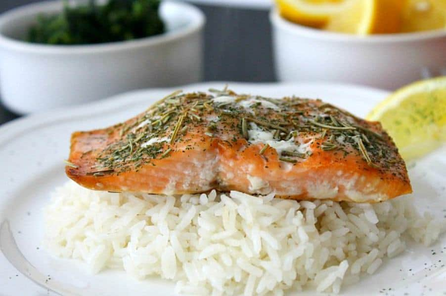 Baked Herbed Salmon on white plate