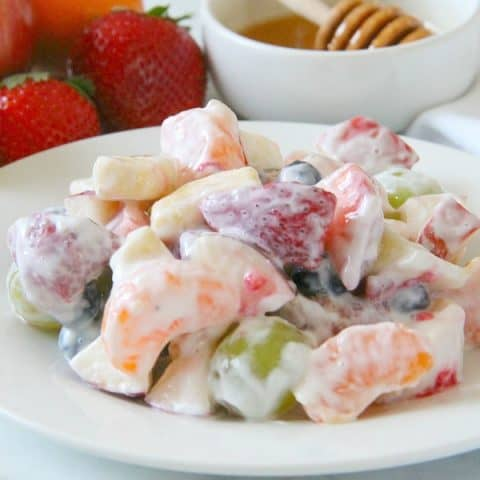 Creamy Yogurt Fruit Salad on white plate