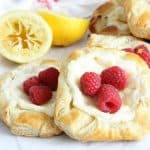 Lemon Raspberry Danish on parchment paper
