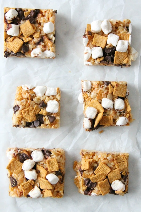 S'mores Marshmallow Treats on white background