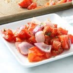Sheet Pan Roasted Tomatoes on white plate