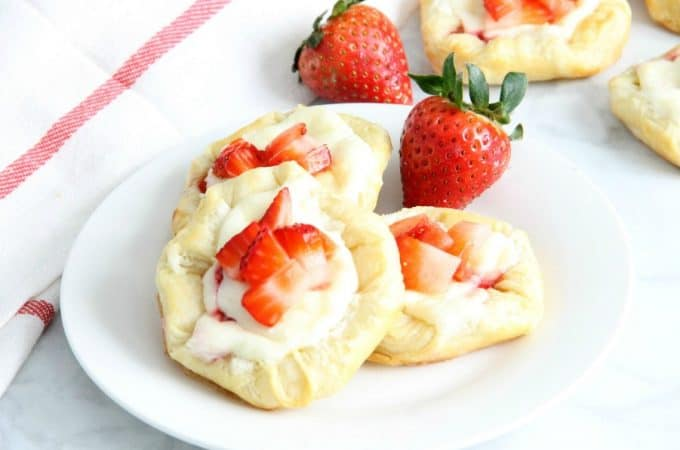 Strawberry Cream Cheese Danish on white plate