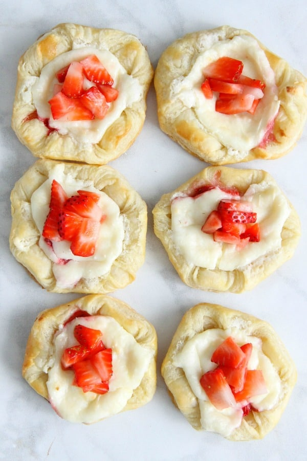 Strawberry Cream Cheese Danish on white background