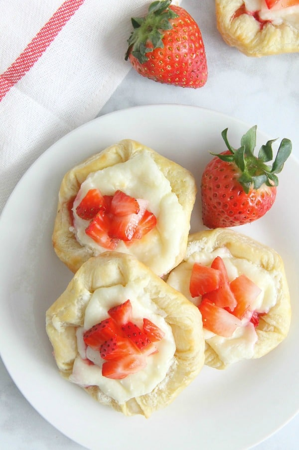 Strawberry Cream Cheese Danish on white plate