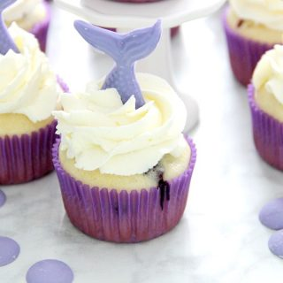 Blueberry Lemonade Mermaid Cupcakes in purple cupcake liner