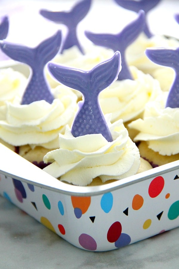 Blueberry Lemonade Mermaid Cupcakes in sheet pan.