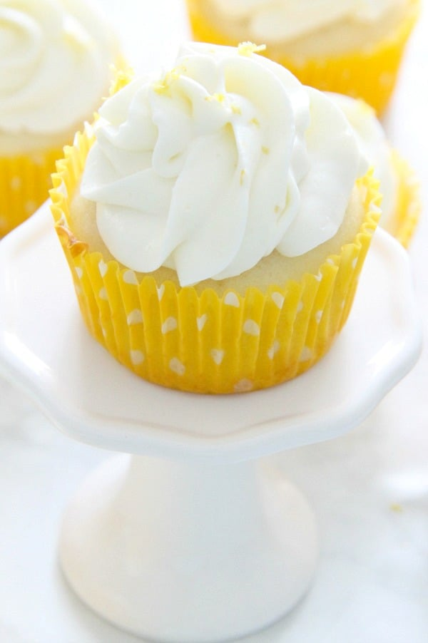 Lemon Cupcakes on white plate
