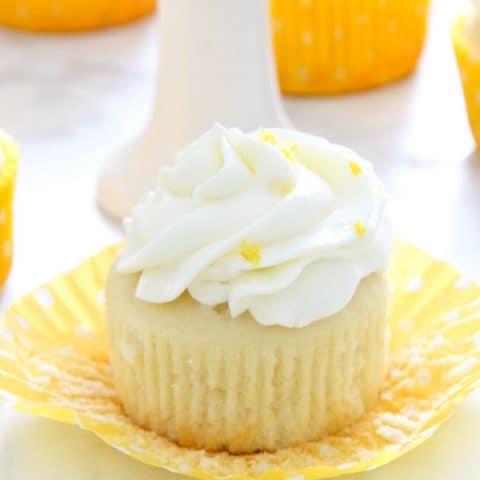 Lemon Cupcakes on white background