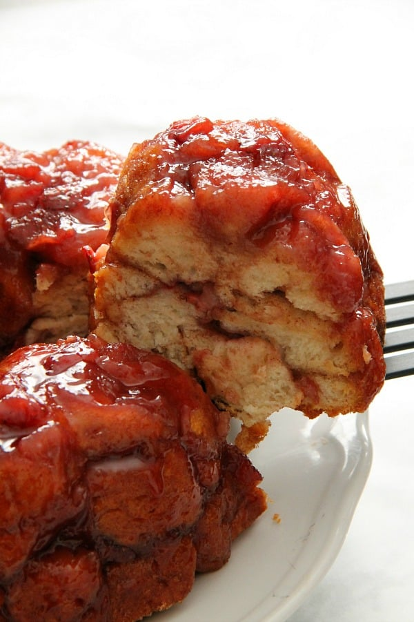 Strawberry Monkey Bread on white plate