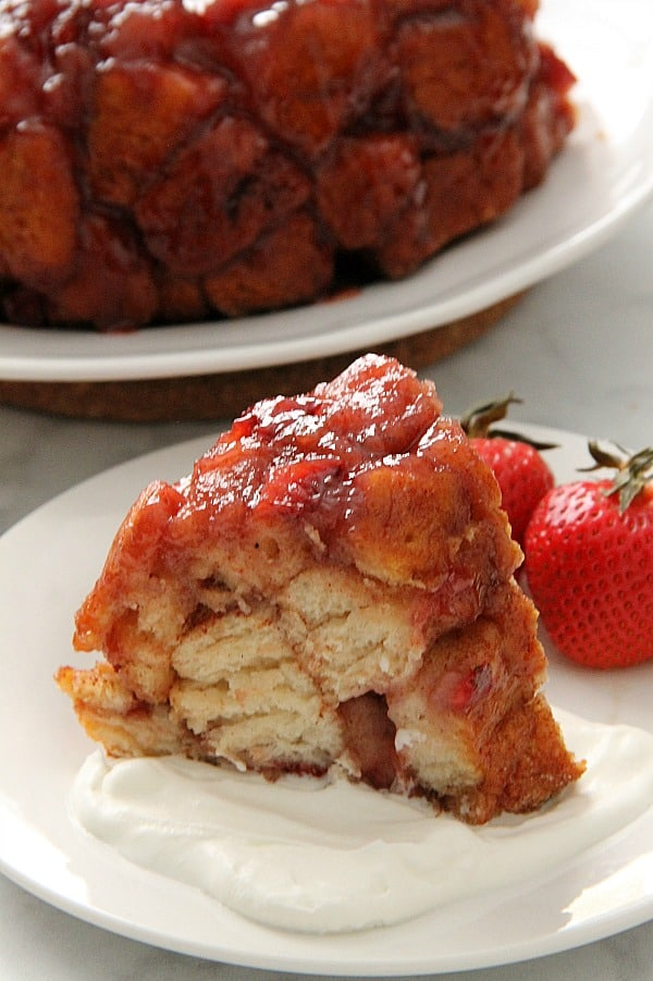 Strawberry Monkey Bread one white plate