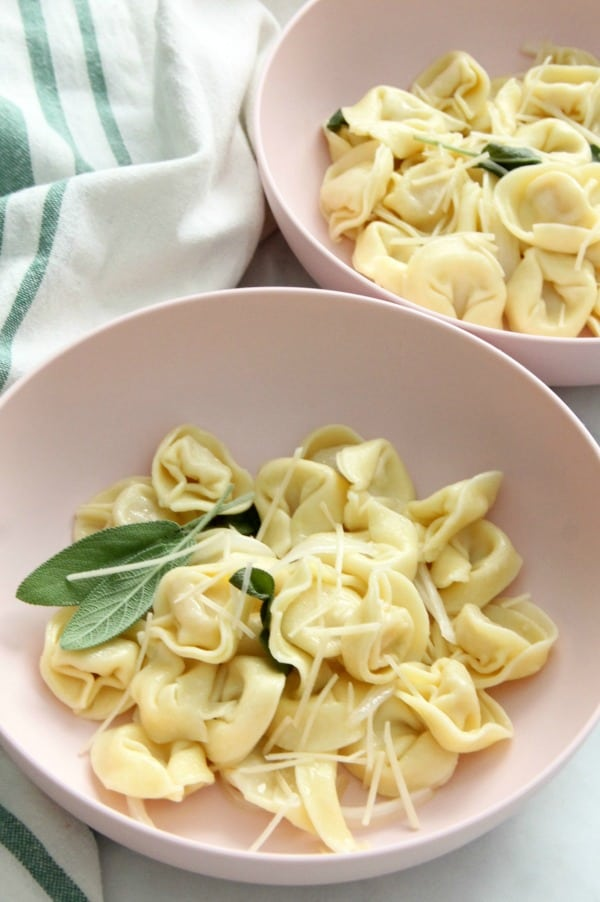 Tortellini with Butter and Sage in light pink bowl