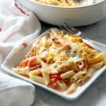 Cheesy Tomato Pasta Bake on white plate