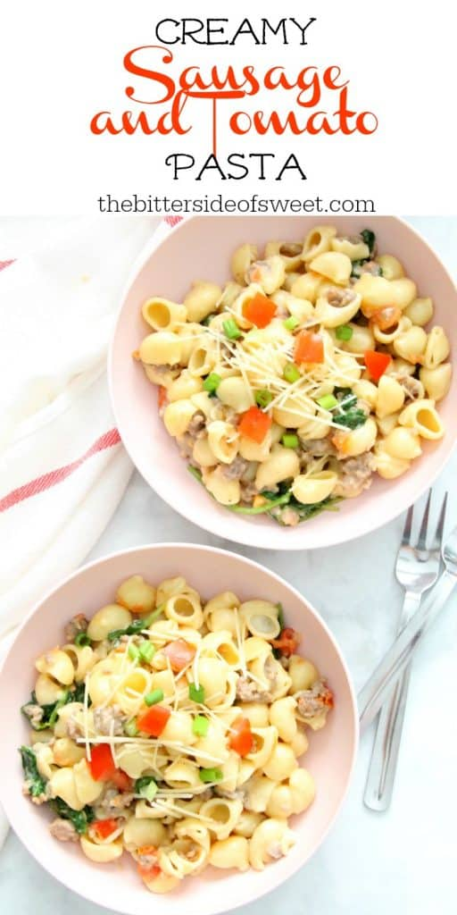 Creamy Sausage and Tomato Pasta in bowl