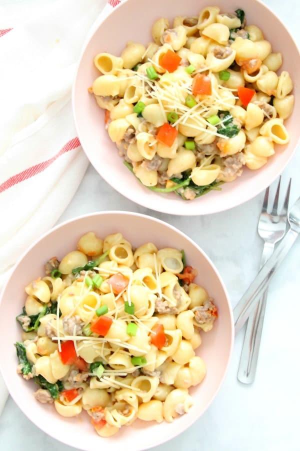 Creamy Sausage and Tomato Pasta in bowl