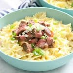 Steak Gorgonzola Pasta in blue bowl