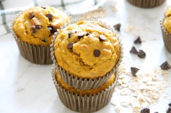 Chocolate Chip Pumpkin Muffins on white background