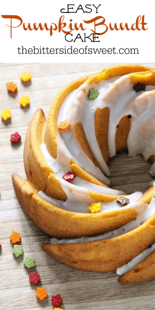 Easy Pumpkin Bundt Cake on brown background