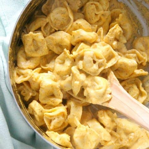 Creamy Pumpkin Tortellini in pan