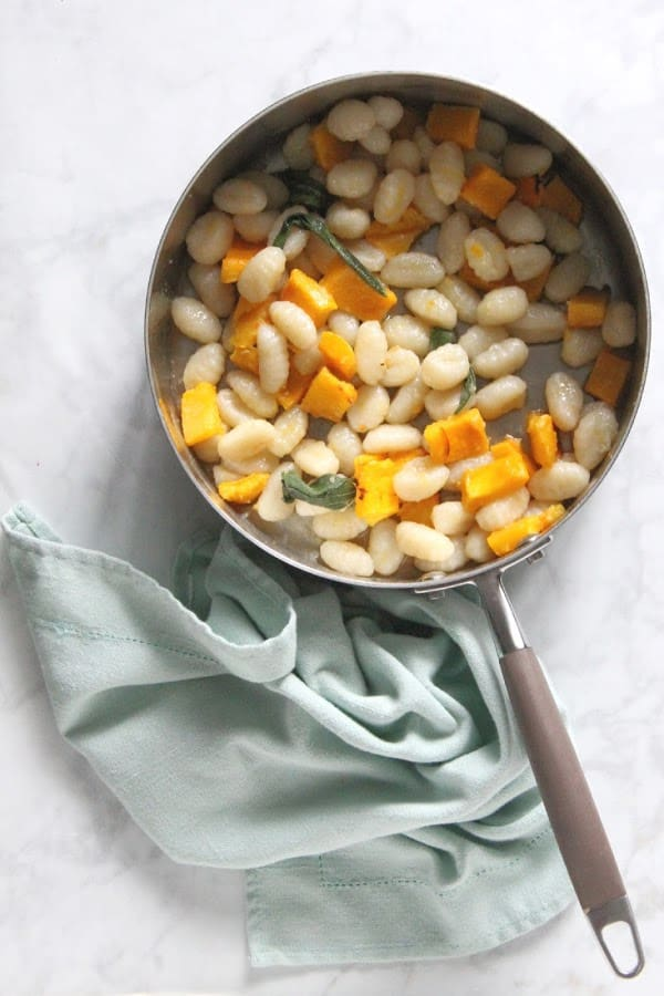Pumpkin Gnocchi with Sage Butter Sauce in pan