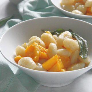 Pumpkin Gnocchi with Sage Butter Sauce in bowl