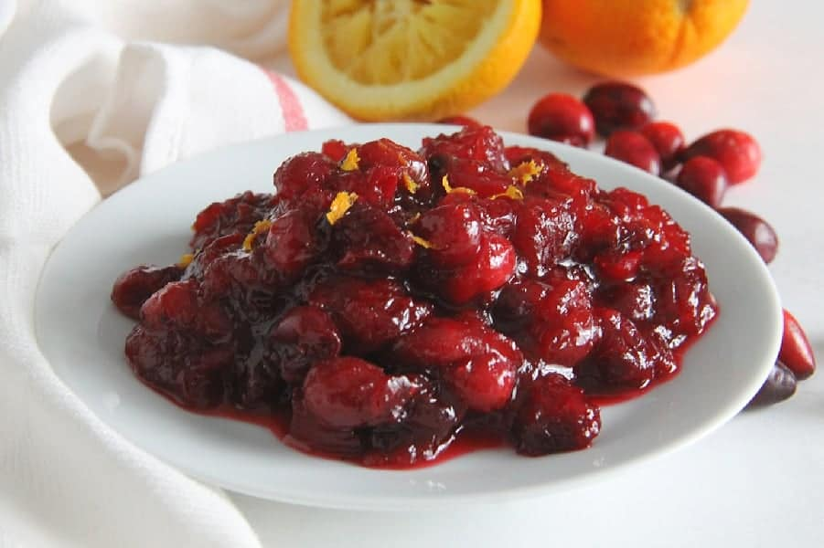 Orange Cranberry Sauce on white plate