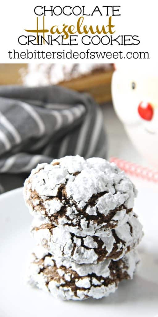 Chocolate Hazelnut Crinkle Cookies on white plate