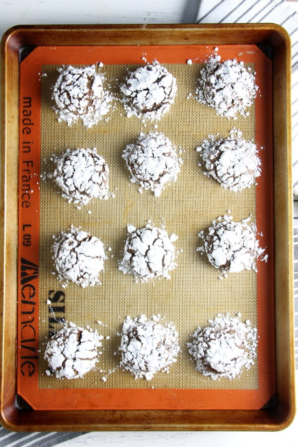 Chocolate Hazelnut Crinkle Cookies on cookie sheet