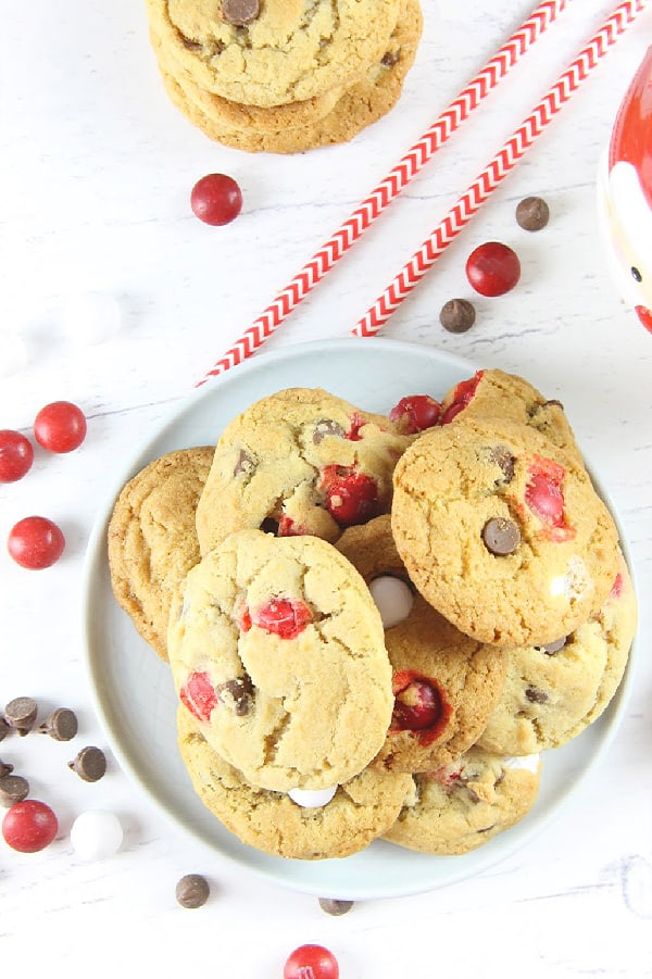 Peppermint Chocolate Chip Cookies on a white plate